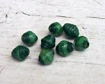 Green Rowandan Rolled Paper Beads-8mm (8)