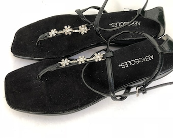 Vintage Aerosoles black ankle strap with rhinestones sandals 9.5 m