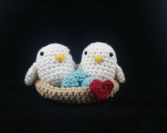 Love Birds in a Love Nest with eggs