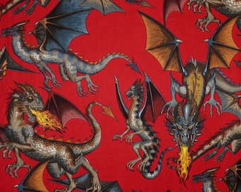 Fabulous Tale of the Dragon Print On Red Pure Cotton Fabric--By the Yard