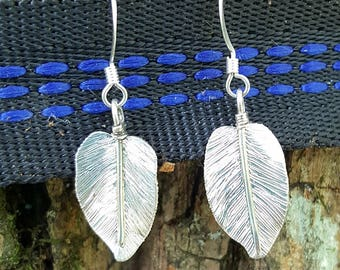 Single Silver Leaf Earring style 2, Sterling Silver Leaf Earring, Handmade Silver Leaf Earring
