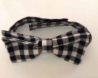 Black and White Check bow tie.