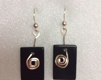 Natural Black Obsidian and .925 Sterling Silver Earrings