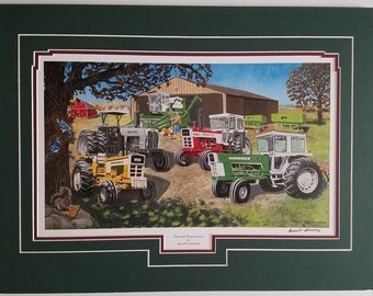 Russell Sonnenberg 18 x 24 matted farm tractor art print Oliver White & Minneapolis Mioline
