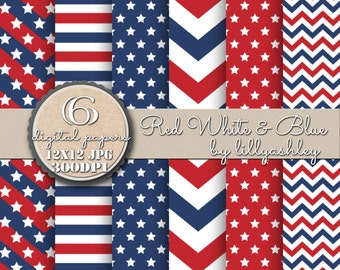 Digital Paper Pack of Six-12x12 JPG Format-Red White & Blue Patriotic Downloadable Papers for Backgrounds Labels Cards Tags Photography Etc!