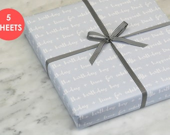 Birthday Wrapping Paper - Birthday Boy - Wrapping Paper Sheets - Blue Wrapping Paper.