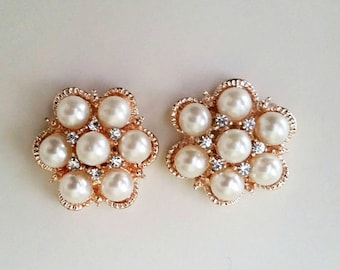 2 rose gold flower connectors with ivory pearls and crystals 25mm charms craft wedding supplies