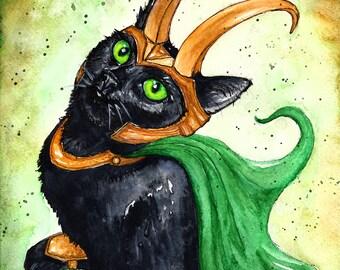 Loki Kitten: Fine Art Watercolour Black Cat Print