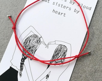 Red String Bracelet,Friendship Bracelet,Sisters Bff Heart with meaning Card,Gift,Love Bracelet