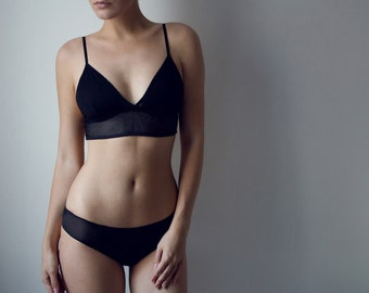 Classic Sheer Black Mesh Set soft triangle bralette and cheeky panties, See Through Crop Top