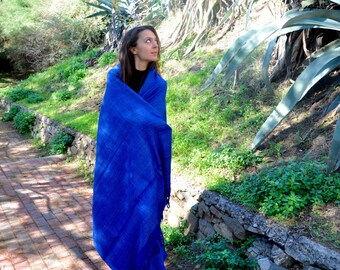 Large Blue Tussah silk meditation shawl. Non-violent Ahimsa silk