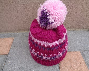 Hat with Pom Pom fuchsia 2 to 3 years old girl