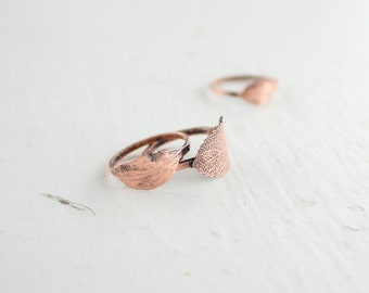 botanical ring - nature ring - stacking - nature inspired - copper - nature jewelry - minimalist - gift for her - leaf ring - leaf jewelry