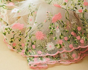 """Lace Fabric Organza Pink Flower Embroidery Wedding Fabric 51"""" width by yard"""