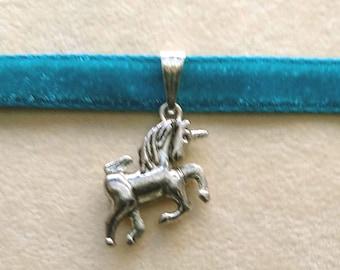 Unicorn Charm Choker, Horse Pendant, Horse animal unique, Thin Blue Velvet, Charm Choker Necklace, gift for her, gift for daughter, birthday