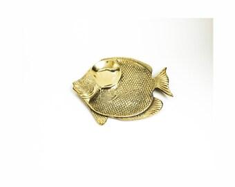 Large Vintage Brass Fish Tray