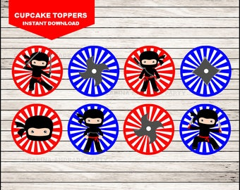 Ninja cupcakes toppers instant download, Ninja Toppers , Ninja Party Toppers