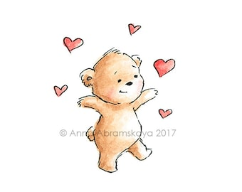 Teddy Bear with Hearts - Printable  Art - Digital file - Valentines - Love bear - Love illustration - Ink and Watercolor - Greeting Card