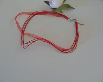 set of 2 red fancy 43 organza Ribbon and cord necklaces cms