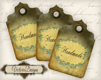 Handmade Tags Labels instant download printable digital collage sheet - VD0109