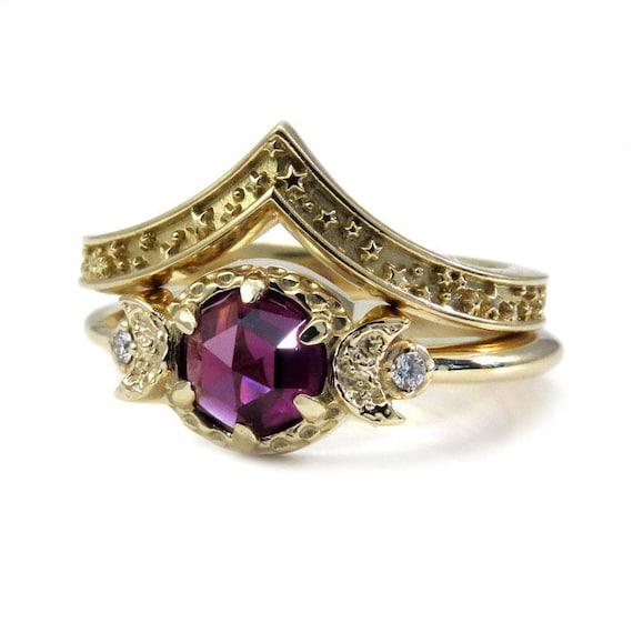 Rhodolite Garnet Moon and Star Engagement Ring Set - 14k Gold with Diamonds