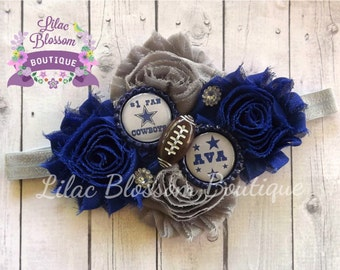 Dallas Cowboys Personalized Girl Headband, Cowboys Baby Girl Headband, Cowboys Baby Outfit, Dallas Baby Girl, Cowboys Infant Headband