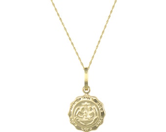 14K Solid Yellow Gold Baptism Medal Pendant Singapore Chain Necklace Set - Charm