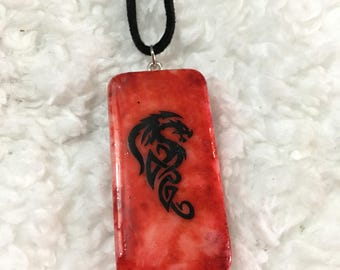 Painted Dragon Domino Necklace