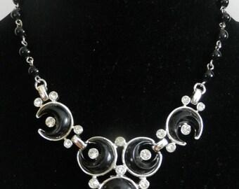 Vintage Signed Lisner  Black Enamel Choker Rhinestone Bead Designer Necklace