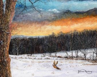 Sunset Painting - Pheasant Print - Winter Landscape - Blue Orange Sky - Winter Trees - Flying Bird - Matted Print