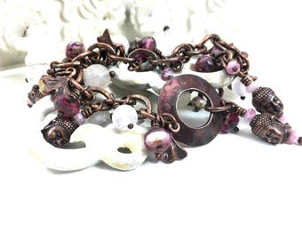 Buddha Bracelet. Boho Pink Czech Glass Rose Quartz Asian Charm Bracelet. Wire Wrapped Copper. Opulent. Seventh Wedding Anniversary Gift Idea