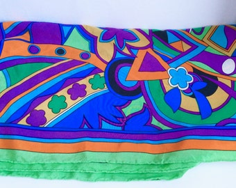 Vintage Silk Scarf, Bright Colors, Yorn brand, Rolled Edges, Mod Style Psychedellic Design