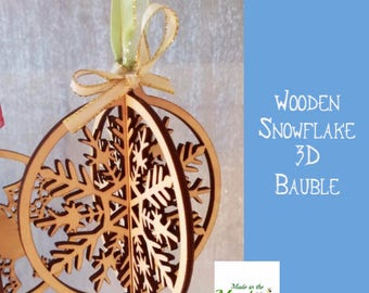 Christmas tree bauble, wooden 3D snowflake hanging decoration