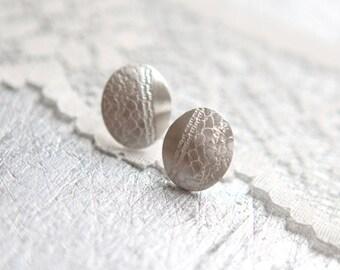 Silver Earrings - White Lace Sterling Silver Stud Earrings - Wedding Jewellery Lace Earrings