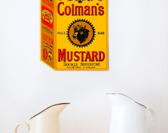Vintage Style Porcelain Enamel Sign  - Coleman's Mustard - Free Shipping Within the USA