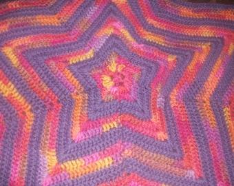 Crochet Striped Star Blanket