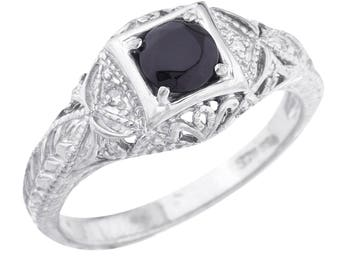 Genuine Black Onyx & Diamond Round Ring .925 Sterling Silver