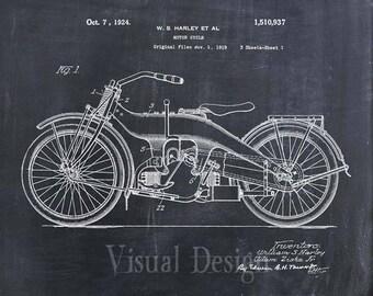 Harley Motorcycle Patent Print Harley Patent Art Print Patent Poster