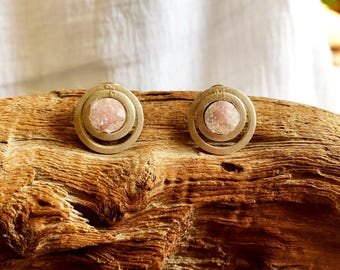 Sterling silver and pink druzy earrings