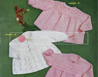 Baby Matinee Coats 3-6 months DK Sirdar Sunshine Series 242 Vintage Knitting Pattern PDF instant download