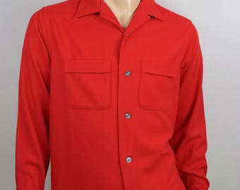 Vintage 1960's SEARS RED Loop Collar Wool Button Down HiPsTeR Shirt Hunting Chore Work Shirt L