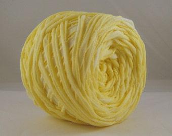 T Shirt Yarn, Hand Dyed, Washed Lemon, 60 Yards, Patel Yellow T Shirt Yarn