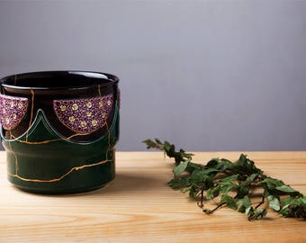 Flower pot, early 1900, Eichewald, repaired with original Kintsugi technique