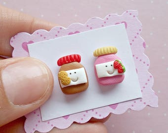Peanut Butter and Jelly Earrings - Food Earrings - Funny Earrings - Kawaii Mismatched Jewelry  - Peanut Butter and Jelly Stud Earrings