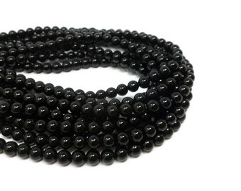 Black Agate - 6mm Round Bead - 63 Beads - Whole Strand - shiny gloss opaque stone