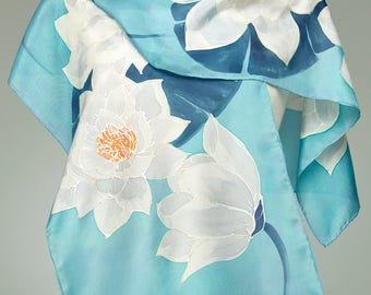 Hand Painted Silk Scarf, Silk Shawl Using French Dyes. Water Lilies On Soft blue-green.