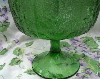 Vintage green glass compote