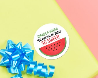 "Birthday Loot Bag Stickers - 1.625 x 1.625"" Circles 24 Per Sheet - Watermelon Funny Bday Party Favors Favours Party Planning Thank You Gifts"