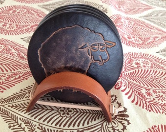 Black or Multicolor Sheep Design Leather Coaster Set