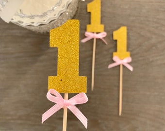 One Cupcake topper, First birthday cake topper, Girl birthday cake topper, Set of 10
